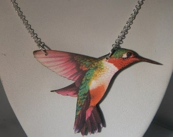 medium hummingbird necklace devine kitsh tatty woodcut lasercut retro