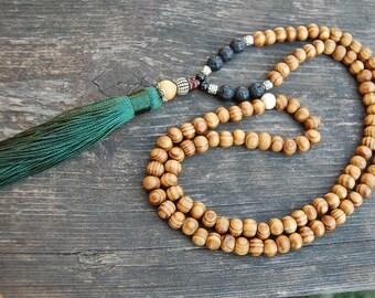Tassel Necklace,Pine Wood Beads,Lava Stone,Yoga,Mala Wood Necklace,Necklace Beaded Necklace,Yoga,Men,Woman,Protection,Mala,Meditation,Prayer