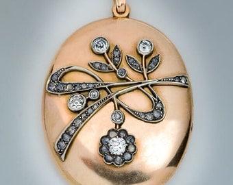 Art Nouveau Antique Diamond Gold Locket Pendant