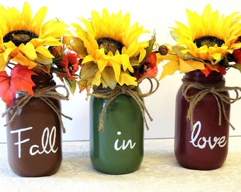 Fall In Love Fall Wedding Centerpiece Thanksgiving Hand Painted Mason Jars Wedding Decor Farmhouse Shabby cottage Chic fall wedding bouquet