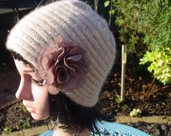 Merino, Kid Mohair Womens knitted hat.
