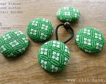 Vintage Kimono Covered Button Ponytail Holder, Green Floral