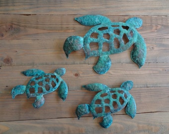Copper Turtles with a natural Tiffany green patina  Turtles   Sea Turtles
