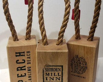 Personalised Solid Oak Door Stop. Mothers day / Fathers day / wedding day gift.