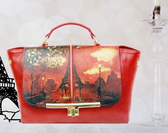 Hand Painted Fine Grain Leather Purse - Coco Paris Red Purse by Lyria.ro