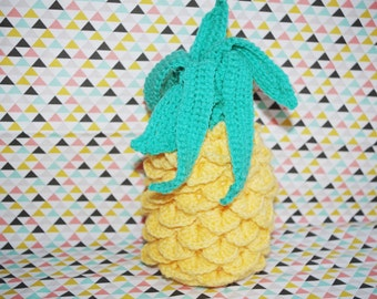 Yellow and green decorative pineapple crochet