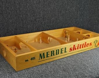 Vintage Merdel Skittles Spinning Top Bowling Game
