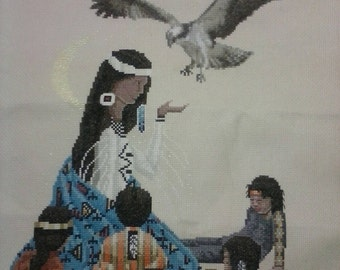 Vintage Native American Cross stitch, needlepoint. Lot of 3.
