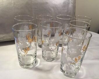 Libbey Hostess set - Calvacade - white horse glasses - unicorn glasses - mid century Libbey - Libbey glasses - retro Libbey glasses