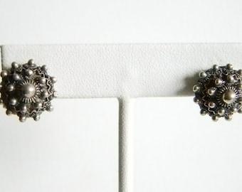 Vintage Sterling Silver Domed Button Pierced Earrings