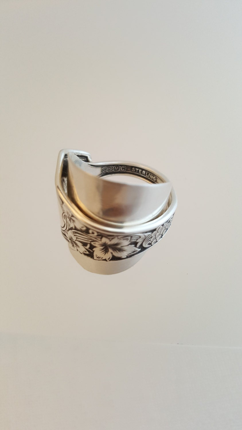 spoon ring grapes sterling silver spoon ring vintage spoon