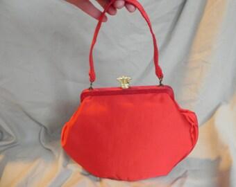 1940's Vintage Red Satin Purse Handbag with Brass Clasp