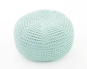 MINT crocheted  KID size POUF/ floor cushion/ hypoalergic pouf/rope  poof/bean bag chair/ Ottoman/ footstool/rustic pouf