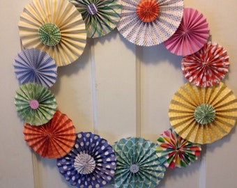 Spring Pastel Pleated Paper Rosette Wreath