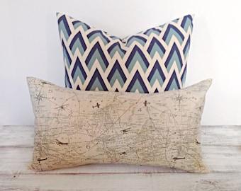 "Vintage Aviator's Map Lumbar Pillow Cover 12"" x 20"", Decorative Accent Pillow, Home Decor"