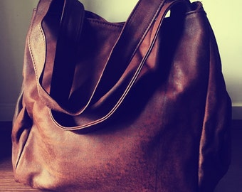 Extra Large genuine leather tote bag. Square shaped coffee coloured leather. Travel bag, handmade shoulder bag.Leather diaper bag,nappy bag