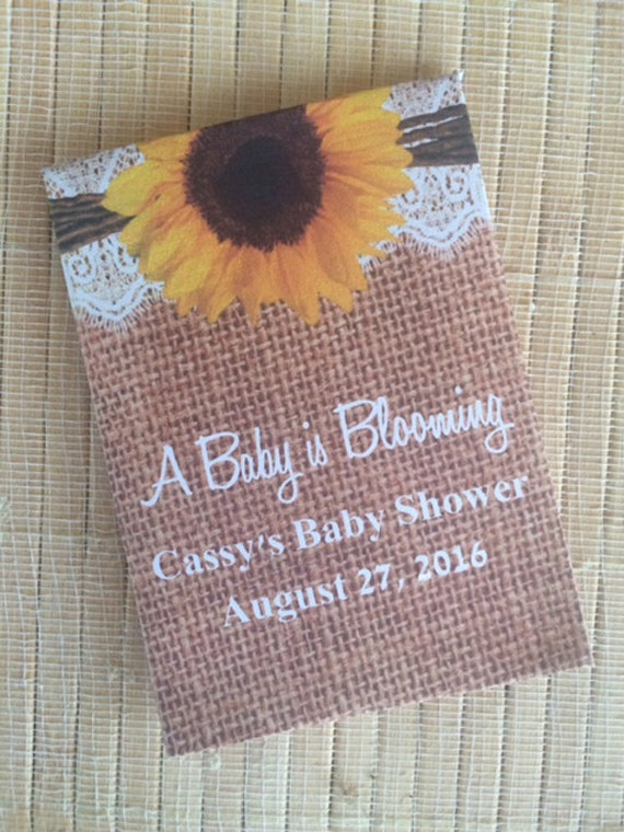 35 Baby Shower Seed Packet Favors, Baby Girl Shower Favors, burlap Baby Shower Favors, sunflower baby shower favors, lace baby shower favors