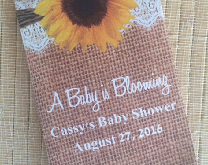 Special Listing: 75 burlap Baby Shower Favors, sunflower baby shower favors, lace baby shower favors