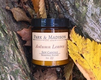 Autumn Leaves Soy Candle, Soy Candle, Soy Candles Handmade, Scented Soy Candles, Fall Candles
