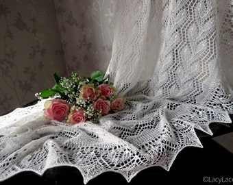 100% Cashmere Natural White Handknitted Traditional Estonian Lace, Haapsalu Shawl FREE SHIPPING