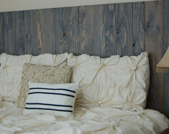 Classic Gray Oil Based Stain – Queen Hanger Headboard with Vertical Boards. Mounts on wall. Easy installation.