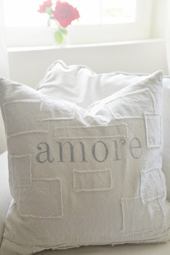 amore grain sack style pillow cover. patches are optional.