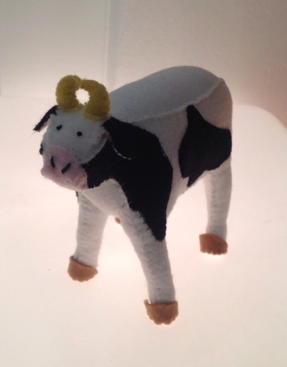 Small Toy Cows : Miniature felt cow soft toy by bettyandloopy on etsy