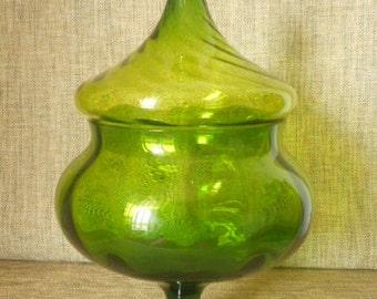Retro Art Glass Candy Jar ~ 1970s Lime Green Swirled Design Glass