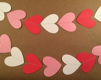 Heart garland, paper heart garland, Valentine's Day garland, Valentine's Day decor, red garland, pink garland