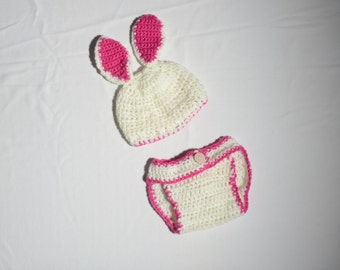 Handmade crochet bunny hat and nappy cover - baby photography prop