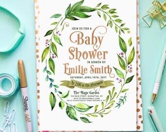 Boho Baby Shower Invitation, Gender Neutral Baby Shower Invitation, Greenery Baby Shower Invitation, Watercolor Baby Shower Invite