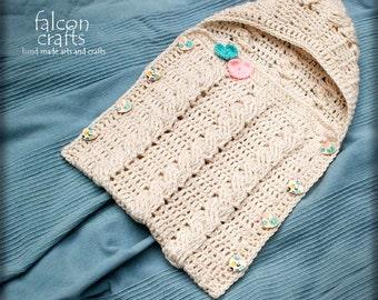 handmade crochet baby sleep sack,cream Aran yarn,buttoned acrylic new born sleep sack with hood,soft cream yarn,heart shape buttons,infants