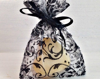 Black Damask 3x4 Organza Favor Bag, Soap Favor Bag, Elegant Wedding Favor Bag, Small Organza Bag, Wedding Favor Bag, Bridal Favor Bag