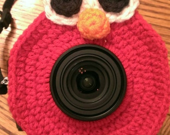 Crocheted Elmo camera lens buddy