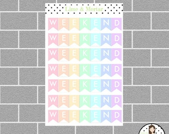 Weekend Banner | PASTEL | Planner Stickers