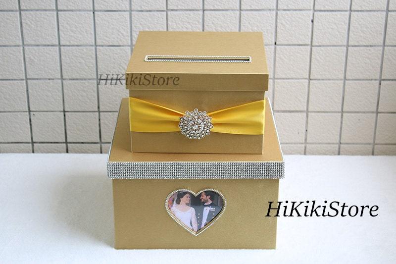 Gold Wedding Reception Gift Card Holder : Elegant Gold Wedding card box / wedding card holder by HiKikiStore