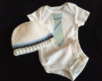 Baby Boy Matching Onesie And Crocheted Hat/ Baby Tie Onesie and Crochet Hat Set/ Infant Boy Tie Onesie/Crocheted Hat W Matching onesie