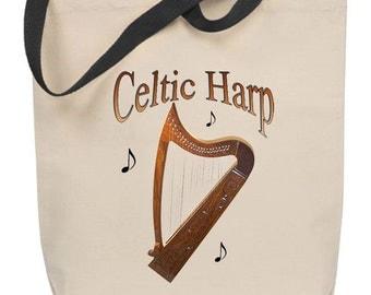 Celtic Harp Tote Bag