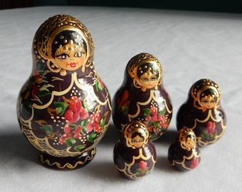 "Russian Nesting Dolls - Five Levels - Biggest Doll is 3-1/4"" Tall"
