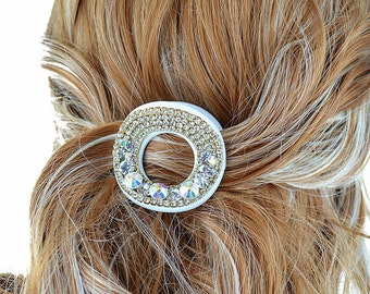 New White With & Gold  With Iridescent  Rhinestone Crystal 1 1/2' Hair Claw Clip