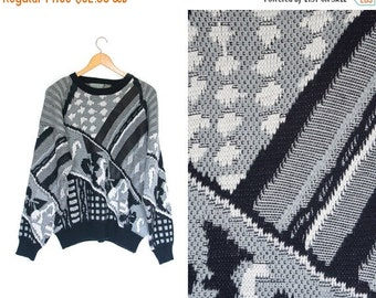 ON SALE Vintage abstract retro sweater. 80s Sweater. Striped pullover. Geometric sweater. Black + White + Grey. Graphic retro.