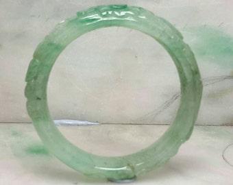 Jade bangle, green bangle, natural color jade bangle