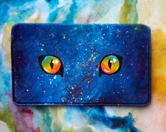Business Card Holder/ Colorful Galaxy Painting/ Rainbow Cat Eyes