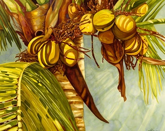Golden Coconuts Giclee Art Print of an original Silk Painting by Artimis. 18x22 inches.