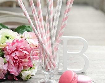 20 x Paper Straws / Pink Striped Straws