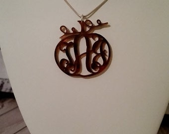 Tortoise Shell Pumpkin Monogram Pendant Necklace with or w/o Tassel & Choice of chain style/length