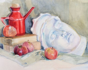 Still life with apples and Hera's head (original watercolor drawing/painting)