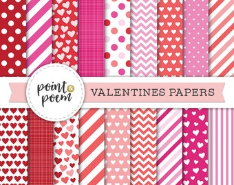 50% OFF SALE Valentine Digital Paper, Valentines Day, Love, Hearts, Pink, Red - Commercial Use