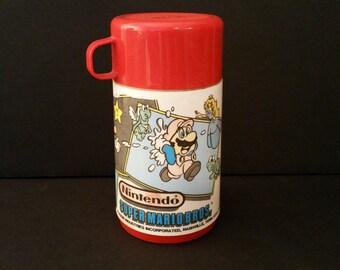 Vintage Plastic Nintendo Super Mario Bros Thermos Mattel 1988