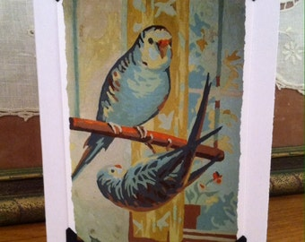 Vintage Paint by Number Blank Greeting Card - Parakeets Birds